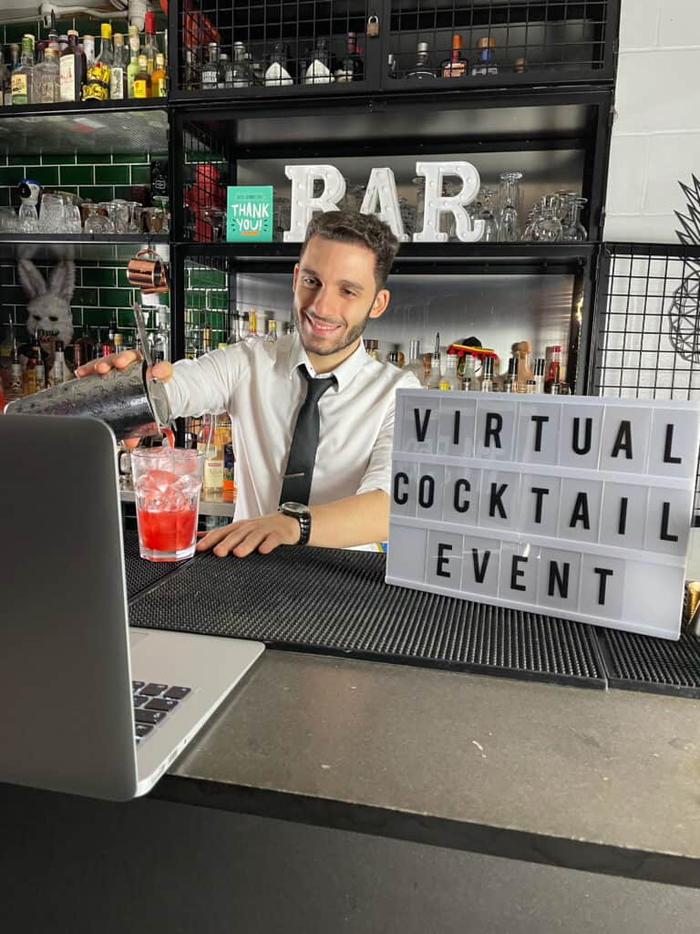 Virtual event with cocktails