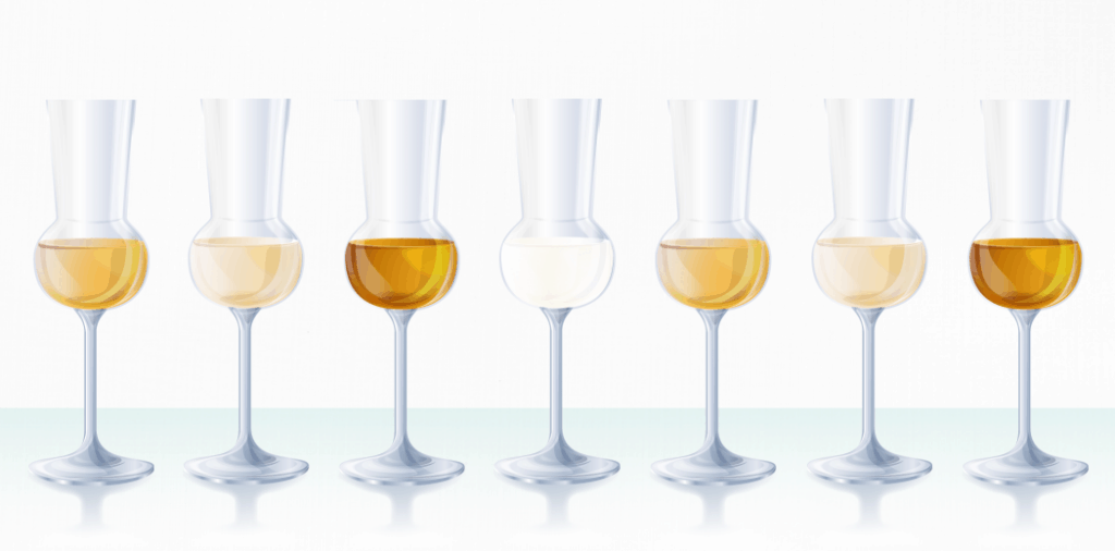 Grappa Glasses with different types of grappa aged poured in