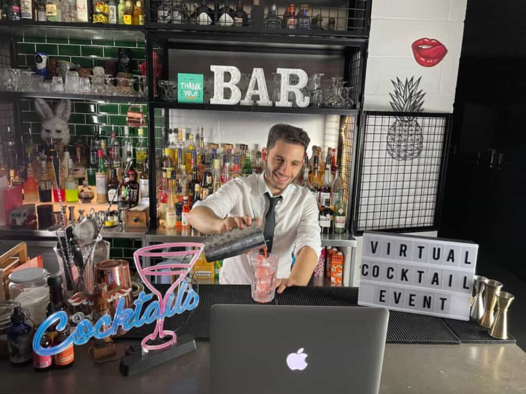 Bartender hosting a virtual cocktail making class