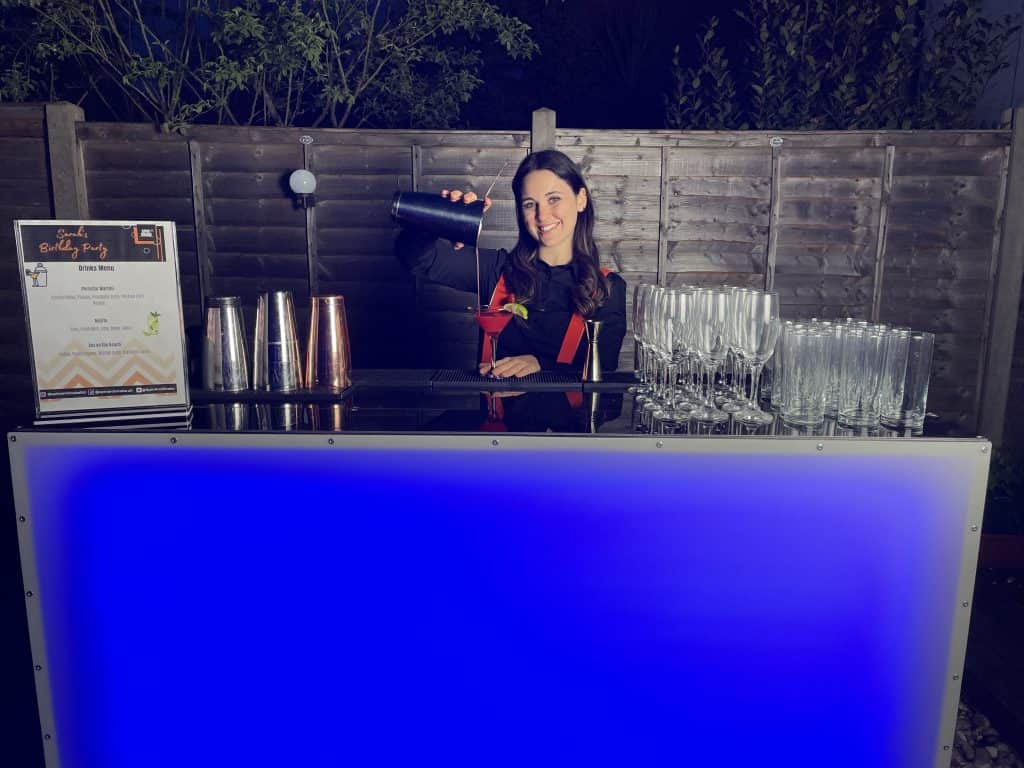 Mobile bar hire set up in a garden