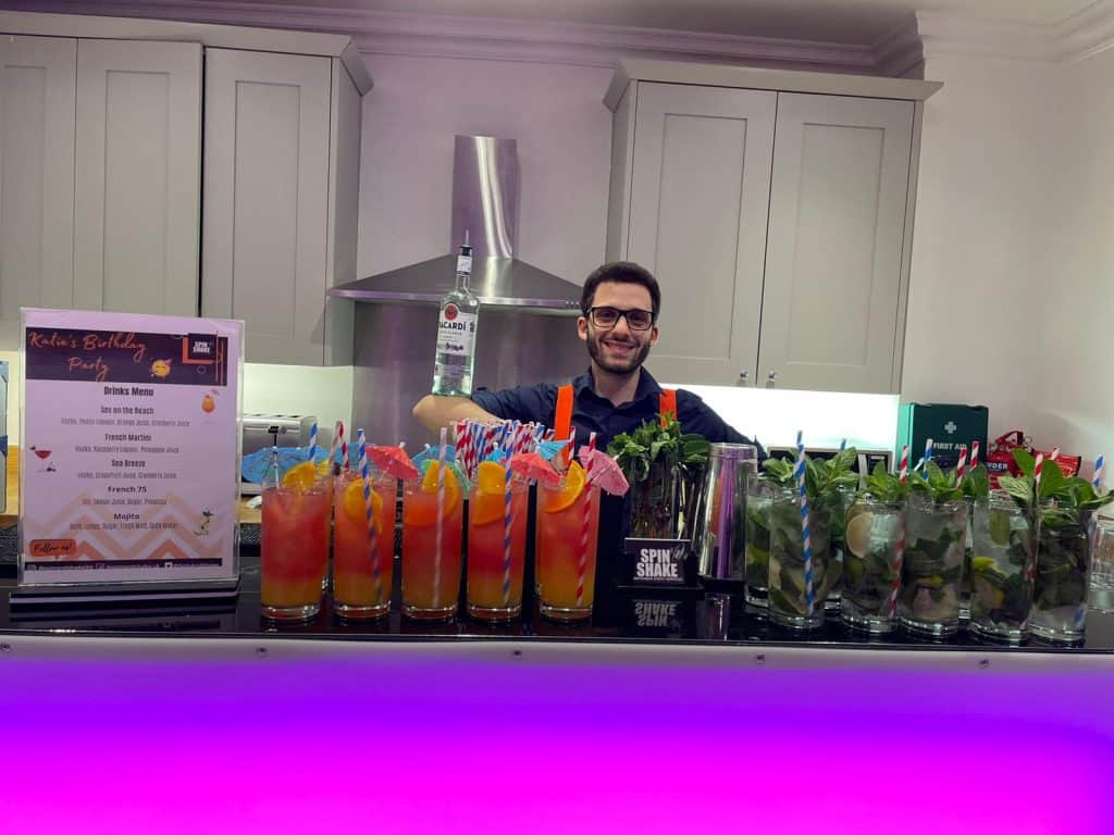 Mobile bar hire london set up for house party